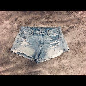 American Eagle Light Wash Distressed Shorts